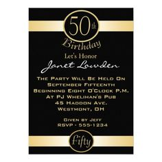 Gold 50th Birthday Party Invitations For Men 90th Parties Adult Fiftieth