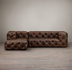 Preconfigured Soho Tufted Leather Right-Arm Sofa Chaise Sectional Leather Restoration, Restoration Hardware, World Decor, Sectional Furniture, L Shaped Sofa, Concrete Wood, Leather Sofa, Leather Sectionals, Leather Chairs