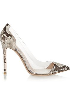 GIANVITO ROSSI  Python and PVC pumps $950