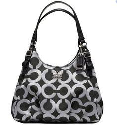 Coach Madison Op Art Signature Maggie Shoulder Bag Purse 18765 Gunmetal