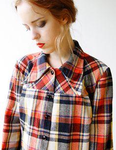 70s Colorful Plaid Wool Lumberjack shirt with by SmokingSaints