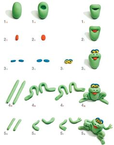 How to make a frog out of Polymer Clay Tutorial - I reckon this would go well out of fondant as a cake topper too! Polymer Clay Animals, Fimo Clay, Polymer Clay Projects, Polymer Clay Charms, Clay Crafts, Fondant Figures, Clay Figures, Frog Cakes, Decoration Patisserie