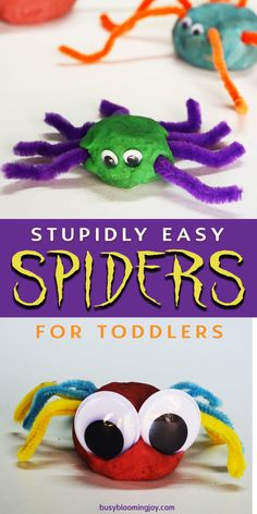 STUPIDLY EASY pipe cleaner spider craft for toddlers (no prep & no mess!) STUPIDLY EASY pipe cleaner spider craft for toddlers (no prep & no mess!),Halloween Toddlers & Kids Super easy and cute spider. Toddler Arts And Crafts, Toddler Art Projects, Crafts For Boys, Art Activities For Toddlers, Playdough Activities, Activities For 4 Year Olds, Montessori Activities, Motor Activities, Daycare Crafts