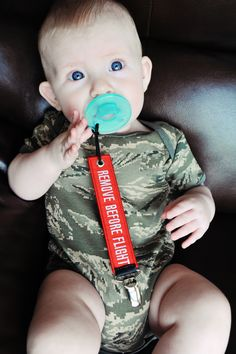 Remove Before Flight Pacifier Clip / Toy Leash by GalleryO on Etsy, $7.50