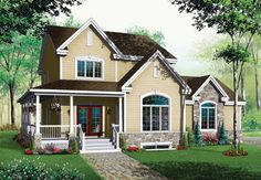Plan W21124DR: Traditional, Metric, Farmhouse, Canadian, Corner Lot, Country House Plans & Home Designs