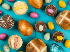 selection of traditional easter cakes and mini chocolate easter eggs
