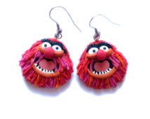 Red Animal Inspiration Earrings, Movie Tv Character Jewelry, The Muppet Show Sesame Street Monster Earrings, Retro Cartoon Fimo Earrings