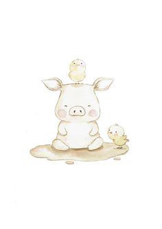 "Children's Art ""PIGGY"" Whimsical Art, Nursery art, Nursery Wall Art, Pig nursery print, Farm animals … Illustration Mignonne, Pig Illustration, Animal Drawings, Cute Drawings, Art Fantaisiste, Art Mignon, Pig Drawing, Pig Art, Cute Piggies"