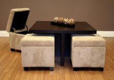 Dorel Home Products Club Table with 4 Ottomans open