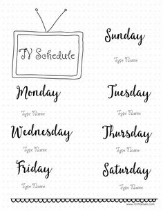 TV schedule - create this page or unlimited others with the free Bullet Journal app.