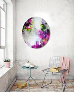Original abstract oval painting circular canvas artwork