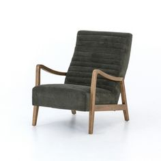 Invitingly curved seat with dramatic horizontal channels and soft, olive-colored covering. Tonal parawood frame captures alluring negative—and positive—spaces.Overall Dimensions: x x Depth: Height: Height from Floor: Height from Seat: Mesa Olive, D