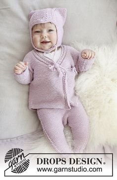 Hello Kitten - The set consists of: Hat for baby with garter stitch, wave pattern and earflaps. Wrap-around jacket and trousers with garter stitch and lace pattern. Sizes premature – 4 years. The set is knitted in DROPS Baby Merino. Free knitted pattern DROPS Baby 29-9