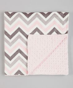 "Take a look at this Lolly Gags Baby Pink & Silver Chevron 30"" x 50"" Minky Blanket on zulily today!"