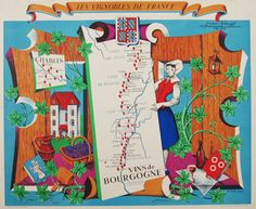Les Vignobles De France - Vins De Bourgogne original vintage poster by Hetreau from 1936 France.