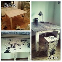 DIY shabby chic table with milk paint