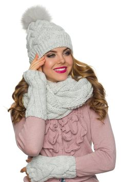 6ebf863bf1a Winter hat scarf and gloves set-Pom pom beanie infinity scarf Mitten  Gloves