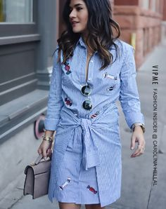 Light Blue Striped Candy Embroidered Shirtdress