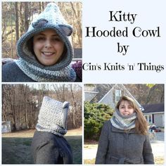 "Kitty Hooded Cowl by Cin's Knits n Things  This is for the Cat Lover's out there. It is a very warm and cozy hooded cowl and is the perfect accessory for those chilly winter days! Wear the cowl tucked in or out, or pull it back and wear it just as a cowl. It is made with soft bulky yarn and is very warm.  Use code ""Pinterest10""  for a 10% discount. #cinsknitsnthings"