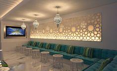 I've always wanted an Arabic majlis for my living room! Arabic Decor, Islamic Decor, Morrocan Decor, Plafond Design, Ideas Prácticas, Moroccan Interiors, Moroccan Design, Interior Decorating, Interior Design