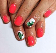 Coral cactus nails