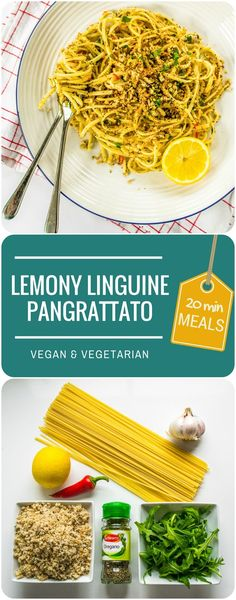 Super-quick and super tasty - Lemony Linguine Pangrattato is a vegan & vegetarian pasta dish - the crispy flavoured breadcrumbs add such a delicious crunch.