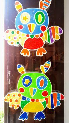 Gufi Vetrofania realizzata con window colors  Associazione ColoriAmo Vivere di Colori