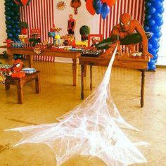 No automatic alt text available. Avengers Birthday, Superhero Birthday Party, 6th Birthday Parties, Third Birthday, Birthday Party Decorations, Avengers Party Decorations, Fête Spider Man, Spider Man Party, Halloween Treats