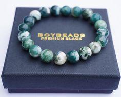 """Sage"" BOYBEADS 10mm marbled green beige stone bead mens custom bracelet - BOYBEADS"