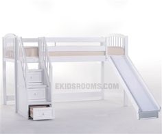 School House Junior Low Loft Bed with Stairs and Slide | NE Kids Furniture | White Twin Loft Bed $989.90