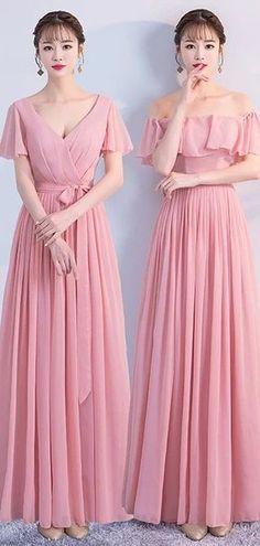 Mismatched Pink Chiffon Cheap Bridesmaid Dresses Online,WG755 #bridesmaids #bridesmaiddress #bridesmaiddresses #dressesformaidofhonor #weddingparty #2020bridesmaiddresses