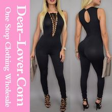 Sexy Lace-up Bust Deep V Neck Black Bodycon Jumpsuit Wholesale Best Seller follow this link http://shopingayo.space