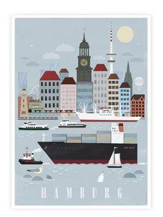 "Hamburg meine Perle: Digitaldruck ""Hamburg City"" / illustrated artprint of Hamburg, harbour by humanempireshop via DaWanda.com"