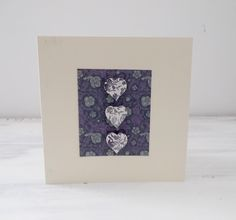 Handmade Shabby Chic Wooden Hearts Blank Card Purple Green by MissKatysVintageShop on Etsy