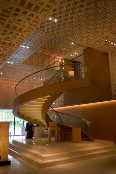A minimalist aesthetic at Hyatt Regency Kyoto. Light Architecture, Architecture Design, Modern Hotel Lobby, Church Interior Design, Stair Art, Regency Hotel, Architectural Lighting Design, Hotel Interiors, Commercial Design