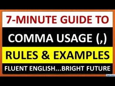 This video explains the usage of comma with examples. english grammar, grammar for kids, grammar for students, learn grammar, comma. Speak English Fluently, Fluent English, Improve English, Learn English, English Grammar For Kids, Learning Channel, Grammar Lessons, Punctuation, Communication Skills