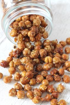 A delicious and healthy snack of chickpeas roasted with garlic, herbs and parmesan