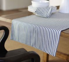 Thatcher Ticking Stripe Table Runner - I love ticking striped stuff! (From Pottery Barn) Pottery Barn Table, Striped Table Runner, Ticking Stripe, Mattress Covers, Ticks, Table Covers, Home Decor Styles, Table Linens, Decoration
