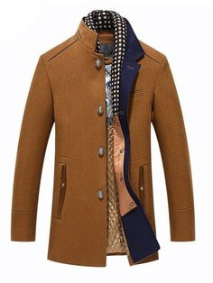 Winter Trench Coat Men Casual Thick Wool Overcoat Men's Stand Collar Woolen Coats With Detachable Scarf Parka Casaco Masculinos Size L Color Navy Blue Mens Wool Coats, Mens Overcoat, Wool Overcoat, Winter Overcoat, Winter Trench Coat, Long Trench Coat, Winter Coats, Camel Coat, Trench Jacket