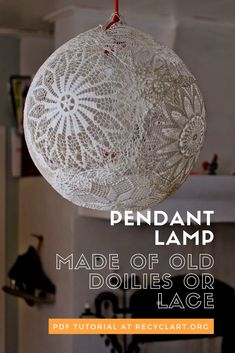 Lace Lamp/doily Lamp - DIY Plan on making this for my little girl's room :) Lampe Crochet, Diy Crochet, Diy Projects To Try, Craft Projects, Craft Ideas, Diy Ideas, Craft Tutorials, Decor Ideas, Doily Lamp