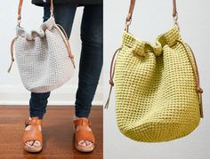 How to Crochet Bucket Bag - included easy to make free crochet pattern.Also with bonus Bernat Maker Home Dec yarn review.