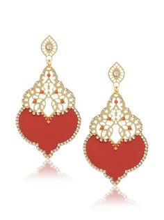 LK Designs Jewelry  Enamel Drop Earrings, Gold