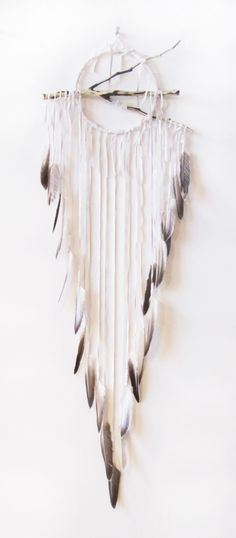 """Lemuria Series - 9"""" ring Lemuria in Snow Quartz White with Natural Feathers, Carved Branch and Quartz Crystal"""