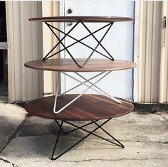 The Willa- Reclaimed Black Walnut coffee table - tripod steel hairpin base. Circle, Round top