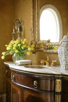 This used to be the client's dining room buffet until it was refitted to be a luxurious vanity.