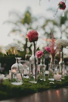 Single stem jars with garden roses and peonies + ranunculus and eucalyptus