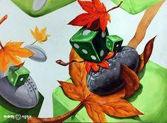 아이엠 미술학원 주사위 낙엽 럭비공