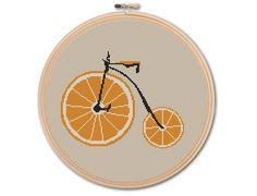 VINTAGE BICYCLE Counted Cross stitch Pattern PDF by KHANNAandILAN