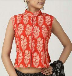 Jacket style blouse - front Saree Blouse Neck Designs, Saree Blouse Patterns, Dress Neck Designs, Sleeves Designs For Dresses, Stylish Blouse Design, Designer Blouse Patterns, Salwar Designs, Sarees, Lehenga