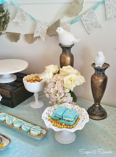 Vintage Shabby Chic Birthday Party Decorations!  See more party ideas at CatchMyParty.com!